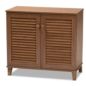 Baxton Studio Coolidge Modern and Contemporary Walnut Finished 4-Shelf Wood Shoe Storage Cabinet Baxton Studio restaurant furniture, hotel furniture, commercial furniture, wholesale entryway furniture, wholesale shoe cabinet, classic shoe cabinet
