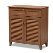 Baxton Studio Coolidge Modern and Contemporary Walnut Finished 4-Shelf Wood Shoe Storage Cabinet with Drawer Baxton Studio restaurant furniture, hotel furniture, commercial furniture, wholesale entryway furniture, wholesale shoe cabinet, classic shoe cabinet