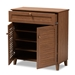 Baxton Studio Coolidge Modern and Contemporary Walnut Finished 4-Shelf Wood Shoe Storage Cabinet with Drawer - IEFP-02LV-Walnut