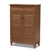 Baxton Studio Coolidge Modern and Contemporary Walnut Finished 5-Shelf Wood Shoe Storage Cabinet with Drawer Baxton Studio restaurant furniture, hotel furniture, commercial furniture, wholesale entryway furniture, wholesale shoe cabinet, classic shoe cabinet
