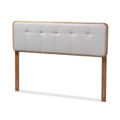 Baxton Studio Palina Mid-Century Modern Light Grey Fabric Upholstered Walnut Brown Finished Wood King Size Headboard Baxton Studio restaurant furniture, hotel furniture, commercial furniture, wholesale bedroom furniture, wholesale king, classic king