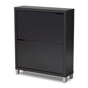 Baxton Studio Simms Modern and contemporary Dark Grey Finished Wood Shoe Storage Cabinet with 4 Fold-Out Racks Baxton Studio restaurant furniture, hotel furniture, commercial furniture, wholesale entryway furniture, wholesale shoe cabinet, classic shoe cabinet