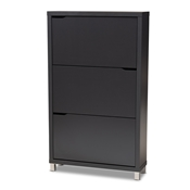 Baxton Studio Simms Modern and contemporary Dark Grey Finished Wood Shoe Storage Cabinet with 6 Fold-Out Racks Baxton Studio restaurant furniture, hotel furniture, commercial furniture, wholesale entryway furniture, wholesale shoe cabinet, classic shoe cabinet