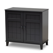 Baxton Studio Glidden Modern and Contemporary Dark Grey Finished 4-Shelf Wood Shoe Storage Cabinet Baxton Studio restaurant furniture, hotel furniture, commercial furniture, wholesale entryway furniture, wholesale shoe cabinet, classic shoe cabinet