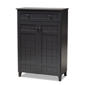Baxton Studio Glidden Modern and Contemporary Dark Grey Finished 5-Shelf Wood Shoe Storage Cabinet with Drawer Baxton Studio restaurant furniture, hotel furniture, commercial furniture, wholesale entryway furniture, wholesale shoe cabinet, classic shoe cabinet