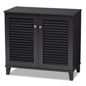 Baxton Studio Coolidge Modern and Contemporary Dark Grey Finished 4-Shelf Wood Shoe Storage Cabinet Baxton Studio restaurant furniture, hotel furniture, commercial furniture, wholesale entryway furniture, wholesale shoe cabinet, classic shoe cabinet