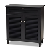 Baxton Studio Coolidge Modern and Contemporary Dark Grey Finished 4-Shelf Wood Shoe Storage Cabinet with Drawer Baxton Studio restaurant furniture, hotel furniture, commercial furniture, wholesale entryway furniture, wholesale shoe cabinet, classic shoe cabinet