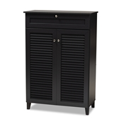 Baxton Studio Coolidge Modern and Contemporary Dark Grey Finished 5-Shelf Wood Shoe Storage Cabinet with Drawer Baxton Studio restaurant furniture, hotel furniture, commercial furniture, wholesale entryway furniture, wholesale shoe cabinet, classic shoe cabinet