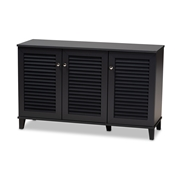 Baxton Studio Coolidge Modern and Contemporary Dark Grey Finished 8-Shelf Wood Shoe Storage Cabinet Baxton Studio restaurant furniture, hotel furniture, commercial furniture, wholesale entryway furniture, wholesale shoe cabinet, classic shoe cabinet
