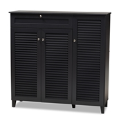 Baxton Studio Coolidge Modern and Contemporary Dark Grey Finished 11-Shelf Wood Shoe Storage Cabinet with Drawer Baxton Studio restaurant furniture, hotel furniture, commercial furniture, wholesale entryway furniture, wholesale shoe cabinet, classic shoe cabinet