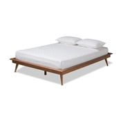 Baxton Studio Karine Mid-Century Modern Walnut Brown Finished Wood King Size Platform Bed Frame Baxton Studio restaurant furniture, hotel furniture, commercial furniture, wholesale bedroom furniture, wholesale king, classic king