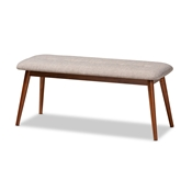 Baxton Studio Flora II Mid-Century Modern Light Grey Fabric Upholstered Medium Oak Finished Wood Dining Bench Baxton Studio restaurant furniture, hotel furniture, commercial furniture, wholesale dining room furniture, wholesale dining bench, classic dining bench