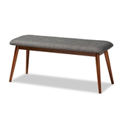 Baxton Studio Flora II Mid-Century Modern Dark Grey Fabric Upholstered Medium Oak Finished Wood Dining Bench Baxton Studio restaurant furniture, hotel furniture, commercial furniture, wholesale dining room furniture, wholesale dining bench, classic dining bench
