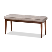 Baxton Studio Itami Mid-Century Modern Light Grey Fabric Upholstered Medium Oak Finished Wood Dining Bench Baxton Studio restaurant furniture, hotel furniture, commercial furniture, wholesale dining room furniture, wholesale dining bench, classic dining bench