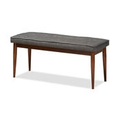 Baxton Studio Itami Mid-Century Modern Dark Grey Fabric Upholstered Medium Oak Finished Wood Dining Bench Baxton Studio restaurant furniture, hotel furniture, commercial furniture, wholesale dining room furniture, wholesale dining bench, classic dining bench