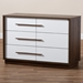 Baxton Studio Mette Mid-Century Modern Two-Tone White and Walnut Finished 6-Drawer Wood Dresser - IELV3COD3230WI-Columbia/White-6DW-Dresser