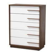 Baxton Studio Mette Mid-Century Modern Two-Tone White and Walnut Finished 5-Drawer Wood Chest