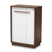 Baxton Studio Mette Mid-Century Modern Two-Tone White and Walnut Finished 5-Shelf Wood Entryway Shoe Cabinet Baxton Studio restaurant furniture, hotel furniture, commercial furniture, wholesale living room furniture, wholesale foyer furniture, wholesale shoe racks, classic shoe racks