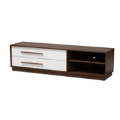 Baxton Studio Mette Mid-Century Modern Two-Tone White and Walnut Finished 4-Drawer Wood TV Stand Baxton Studio restaurant furniture, hotel furniture, commercial furniture, wholesale living room furniture, wholesale entertainment centers, wholesale TV stands, classic TV stands