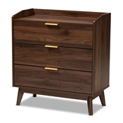 Baxton Studio Lena Mid-Century Modern Walnut Brown Finished 3-Drawer Wood Chest