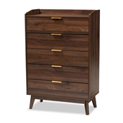 Baxton Studio Lena Mid-Century Modern Walnut Brown Finished 5-Drawer Wood Chest