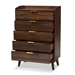 Baxton Studio Lena Mid-Century Modern Walnut Brown Finished 5-Drawer Wood Chest - IELV4COD4232WI-Columbia-5DW-Chest