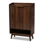 Baxton Studio Lena Mid-Century Modern Walnut Brown Finished 5-Shelf Wood Entryway Shoe Cabinet Baxton Studio restaurant furniture, hotel furniture, commercial furniture, wholesale living room furniture, wholesale foyer furniture, wholesale shoe racks, classic shoe racks