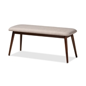 Baxton Studio Flora Mid-Century Modern Light Grey Fabric Upholstered Walnut Finished Wood Dining Bench Baxton Studio restaurant furniture, hotel furniture, commercial furniture, wholesale dining room furniture, wholesale dining bench, classic dining bench