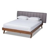 Baxton Studio Brita Mid-Century Modern Grey Fabric Upholstered Walnut Finished Wood King Size Bed Baxton Studio restaurant furniture, hotel furniture, commercial furniture, wholesale bedroom furniture, wholesale beds, classic beds
