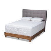 Baxton Studio Taida Mid-Century Modern Grey Fabric Upholstered Walnut Finished Wood King Size Bed Baxton Studio restaurant furniture, hotel furniture, commercial furniture, wholesale bedroom furniture, wholesale beds, classic beds