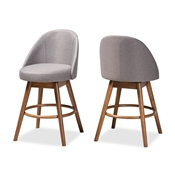 Baxton Studio Carra Mid-Century Modern Grey Fabric Upholstered Walnut-Finished Wood Swivel Counter Stool (Set of 2) Baxton Studio restaurant furniture, hotel furniture, commercial furniture, wholesale bar furniture, wholesale bar stool, wholesale counter height, classic bar stools