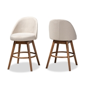 Baxton Studio Carra Mid-Century Modern Light Beige Fabric Upholstered Walnut-Finished Wood Swivel Counter Stool (Set of 2) Baxton Studio restaurant furniture, hotel furniture, commercial furniture, wholesale bar furniture, wholesale bar stool, wholesale counter height, classic bar stools