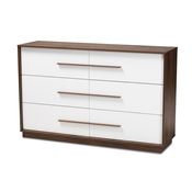 Baxton Studio Mette Mid-Century Modern White and Walnut Finished 6-Drawer Wood Dresser