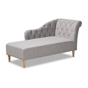 Baxton Studio Emeline Modern and Contemporary Grey Fabric Upholstered Oak Finished Chaise Lounge Baxton Studio restaurant furniture, hotel furniture, commercial furniture, wholesale living room furniture, wholesale chairs, wholesale chaise lounges, classic chaise lounges