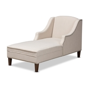 Baxton Studio Leonie Modern and Contemporary Beige Fabric Upholstered Wenge Brown Finished Chaise Lounge Baxton Studio restaurant furniture, hotel furniture, commercial furniture, wholesale living room furniture, wholesale chairs, wholesale chaise lounges, classic chaise lounges