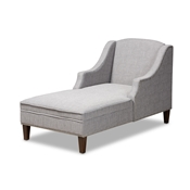 Baxton Studio Leonie Modern and Contemporary Grey Fabric Upholstered Wenge Brown Finished Chaise Lounge Baxton Studio restaurant furniture, hotel furniture, commercial furniture, wholesale living room furniture, wholesale chairs, wholesale chaise lounges, classic chaise lounges