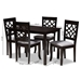 Baxton Studio Mael Modern and Contemporary Grey Fabric Upholstered Espresso Brown Finished 5-Piece Wood Dining Set - IERH331C-Grey/Dark Brown-5PC Dining Set