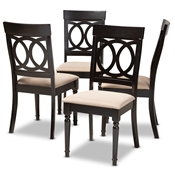 Baxton Studio Lucie Modern and Contemporary Sand Fabric Upholstered Espresso Brown Finished Wood Dining Chair (Set of 4) Baxton Studio restaurant furniture, hotel furniture, commercial furniture, wholesale dining room furniture, wholesale dining chairs, wholesale fabric chairs, classic dining chairs