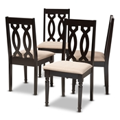 Cherese Modern and Contemporary Sand Fabric Upholstered Espresso Brown Finished Wood Dining Chair (Set of 4) Baxton Studio restaurant furniture, hotel furniture, commercial furniture, wholesale dining room furniture, wholesale dining chairs, wholesale fabric chairs, classic dining chairs