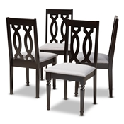 Cherese Modern and Contemporary Grey Fabric Upholstered Espresso Brown Finished Wood Dining Chair (Set of 4) Baxton Studio restaurant furniture, hotel furniture, commercial furniture, wholesale dining room furniture, wholesale dining chairs, wholesale fabric chairs, classic dining chairs