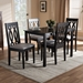 Baxton Studio Cherese Modern and Contemporary Grey Fabric Upholstered Espresso Brown Finished 5-Piece Wood Dining Set - IERH334C-Grey/Dark Brown-5PC Dining Set