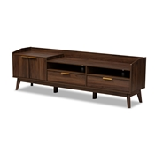 Baxton Studio Lena Mid-Century Modern Walnut Brown Finished 2-Drawer Wood TV Stand Baxton Studio restaurant furniture, hotel furniture, commercial furniture, wholesale living room furniture, wholesale entertainment centers, wholesale TV stands, classic TV stands