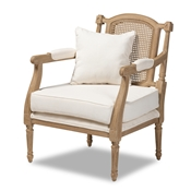Baxton Studio Clemence French Provincial Ivory Fabric Upholstered Whitewashed Wood Armchair Baxton Studio restaurant furniture, hotel furniture, commercial furniture, wholesale living room furniture, wholesale chairs, classic chairs