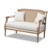 Baxton Studio Clemence French Provincial Ivory Fabric Upholstered Whitewashed Wood Armchair Baxton Studio restaurant furniture, hotel furniture, commercial furniture, wholesale living room furniture, wholesale loveseat, classic loveseat