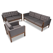 Baxton Studio Lenne Mid-Century Modern Grey Fabric Upholstered Walnut Finished 3-Piece Living Room Set Baxton Studio restaurant furniture, hotel furniture, commercial furniture, wholesale living room furniture, wholesale sofa set, classic sofa set