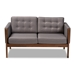 Baxton Studio Lenne Mid-Century Modern Grey Fabric Upholstered Walnut Finished Loveseat - IEBBT8041-Grey-LS
