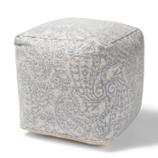 Baxton Studio Juvita Modern and Contemporary Ivory and Blue Handwoven Cotton Paisley Pouf Ottoman Baxton Studio restaurant furniture, hotel furniture, commercial furniture, wholesale living room furniture, wholesale ottoman, classic ottoman