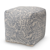 Baxton Studio Juvita Modern and Contemporary Grey and Blue Handwoven Cotton Paisley Pouf Ottoman Baxton Studio restaurant furniture, hotel furniture, commercial furniture, wholesale living room furniture, wholesale ottoman, classic ottoman
