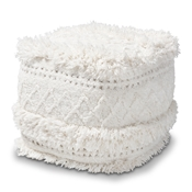 Baxton Studio Curlew Moroccan Inspired Ivory Handwoven Cotton Pouf Ottoman Baxton Studio restaurant furniture, hotel furniture, commercial furniture, wholesale living room furniture, wholesale ottoman, classic ottoman