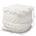 Baxton Studio Curlew Moroccan Inspired Ivory Handwoven Cotton Pouf Ottoman - IECurlew-Ivory-Pouf